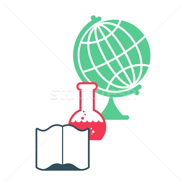 Science logo. Emblem for scientific laboratory. flask and globe. Stock photo © MaryValery