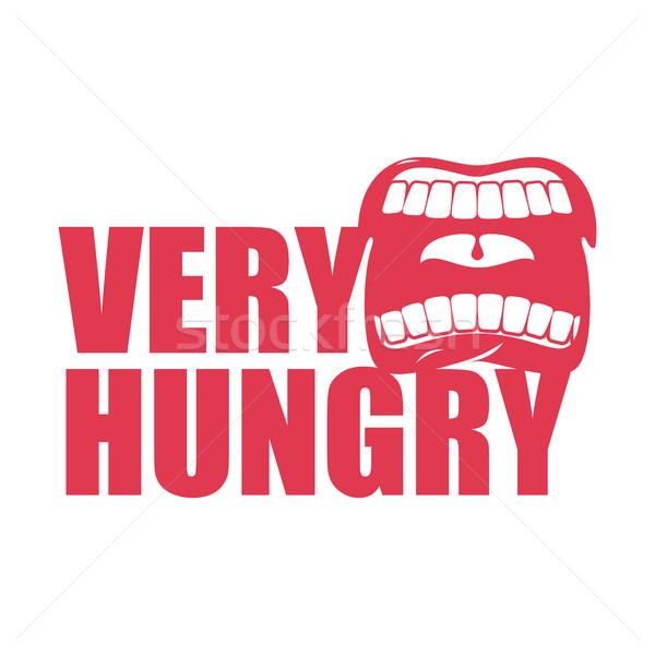 Hongerig logo Open mond tanden Stockfoto © MaryValery