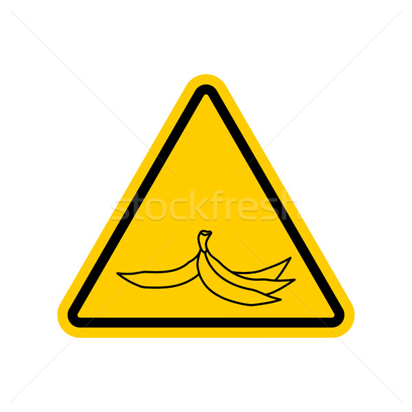 Attention garbage. Peel from banana on yellow triangle. Road sig Stock photo © MaryValery