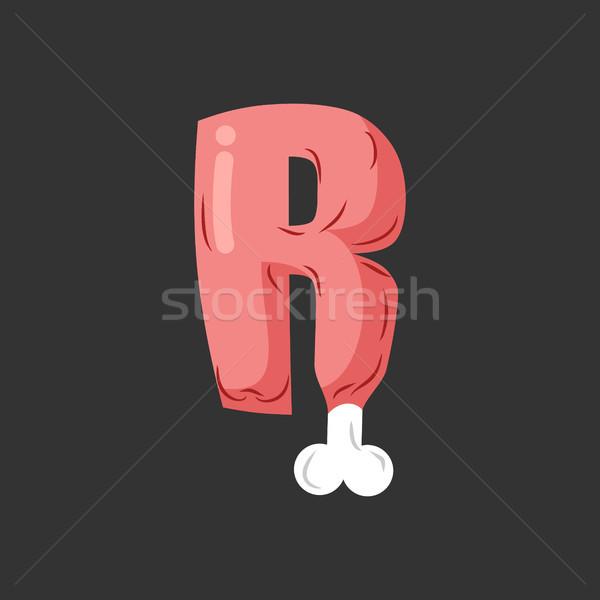 R betű hús betűtípus disznóhús csont ábécé Stock fotó © MaryValery