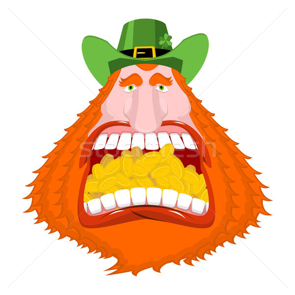 Leprechaun gold. Crazy Dwarf for St. Patrick's Day. Golden coins Stock photo © MaryValery