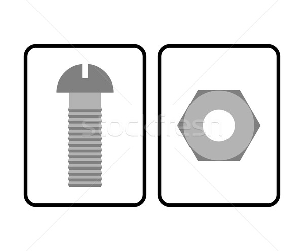 Man and Woman restroom sign. Toilet sign bolt and nut. Humorous  Stock photo © MaryValery