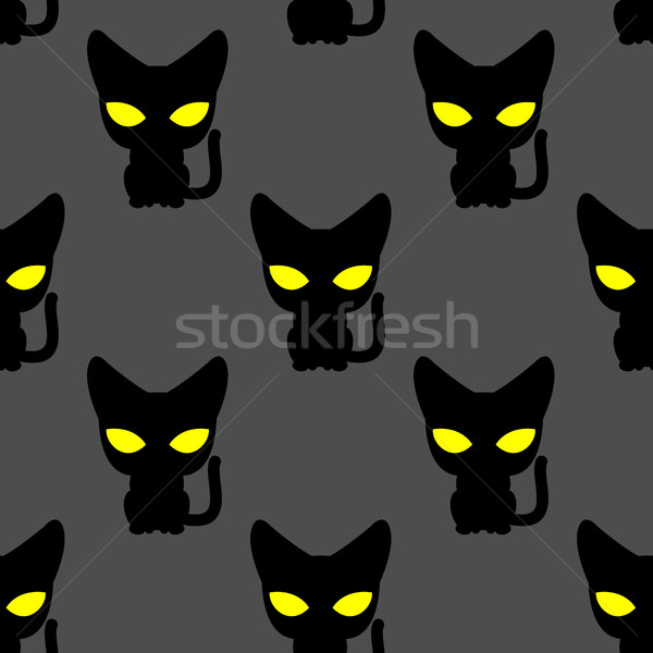 Black cat with yellow eyes at night seamless pattern. Vector bac Stock photo © MaryValery