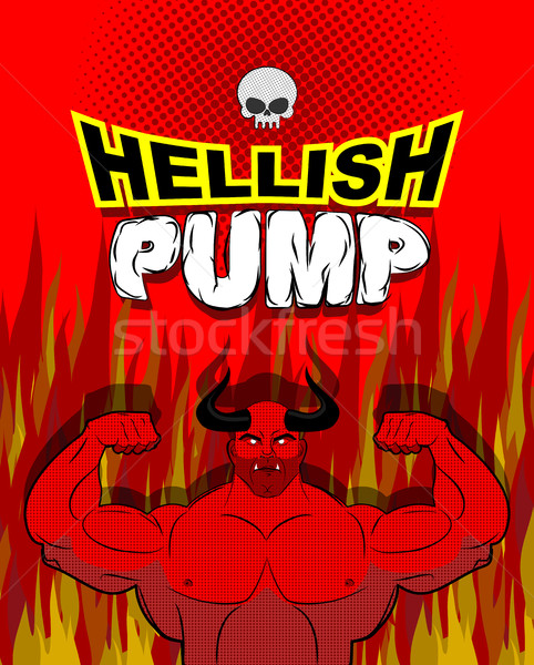 Hellish pump. Satan bodybuilder with huge muscles. Workout with  Stock photo © MaryValery