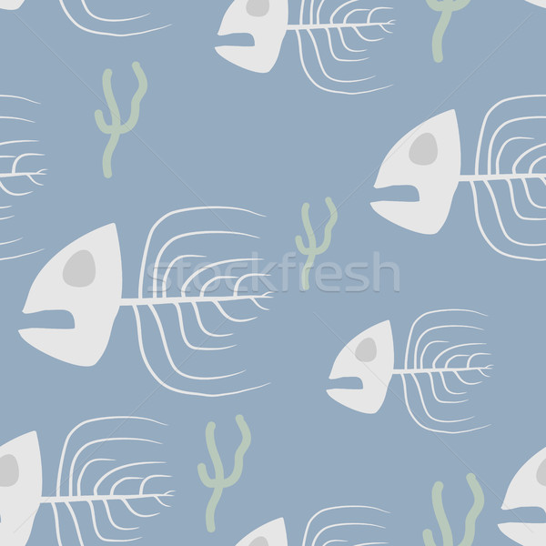 Fish skeleton seamless pattern. Vector background sad, doomed fi Stock photo © MaryValery