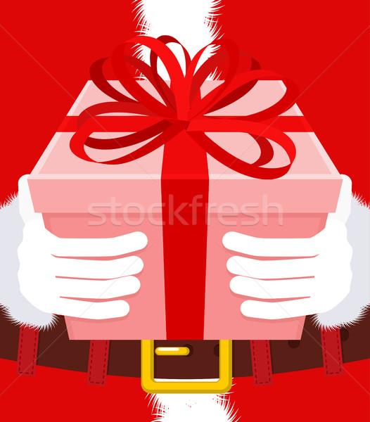 Ajándék karácsony mikulás kesztyű doboz íj Stock fotó © MaryValery