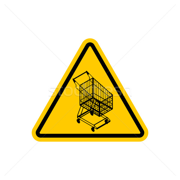 Attention shopping cart. Dangers of yellow road sign. supermarke Stock photo © MaryValery