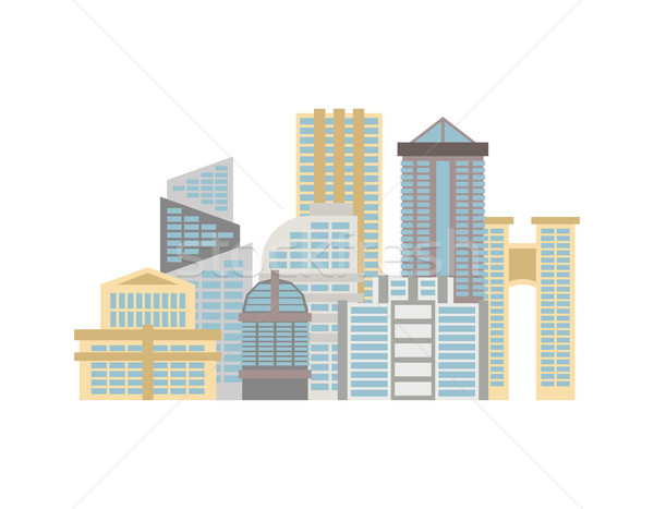 City isolated. Town on white background. Many buildings and busi Stock photo © MaryValery