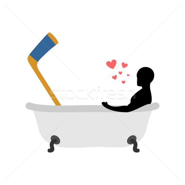 Stock fotó: Szerető · jégkorong · férfi · bot · fürdőkád · ízület