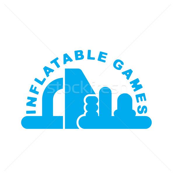 Inflable juegos logo emblema parque acuático Foto stock © MaryValery