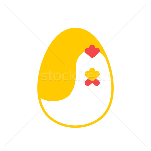 Chicken and egg logo for eggs production. Chicken farm emblem. P Stock photo © MaryValery