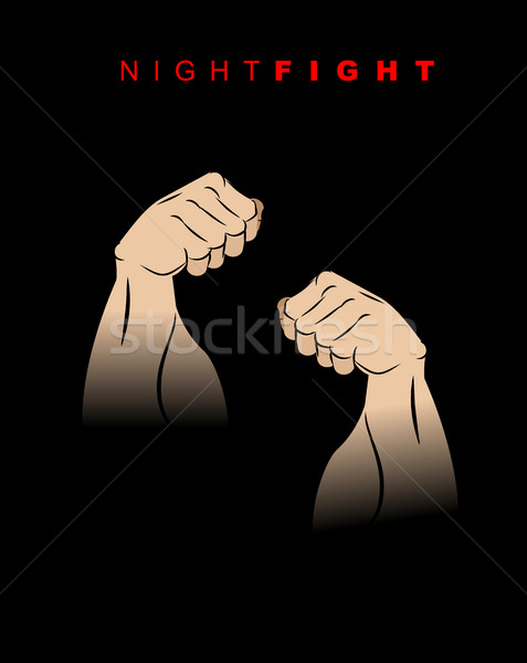 Night fight. Fists of darkness. Kick of  night. Two hands prepar Stock photo © MaryValery