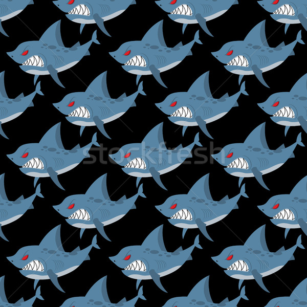 Shark seamless pattern. Many angry, ferocious marine animals. Ve Stock photo © MaryValery