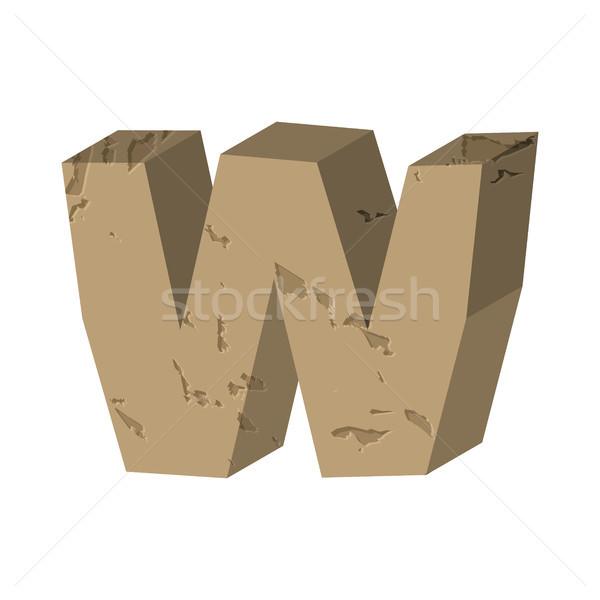 Letter W stone font. Rock alphabet symbol. Stones crag ABC sign Stock photo © MaryValery