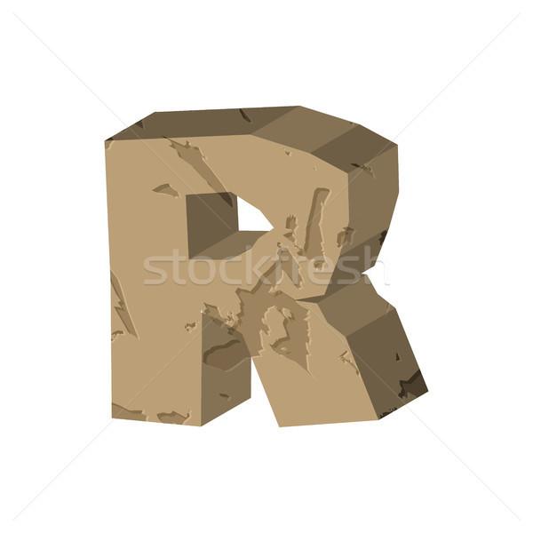 Letter R stone font. Rock alphabet symbol. Stones crag ABC sign Stock photo © MaryValery