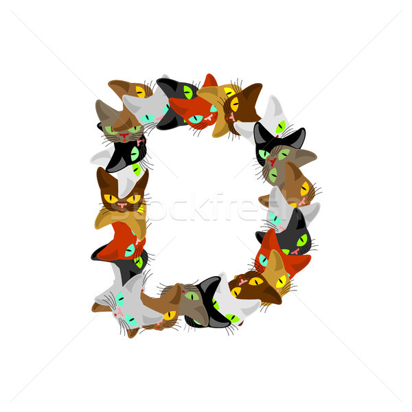 letter D Cat font. Pet alphabet symbol. home animal ABC sign Stock photo © MaryValery