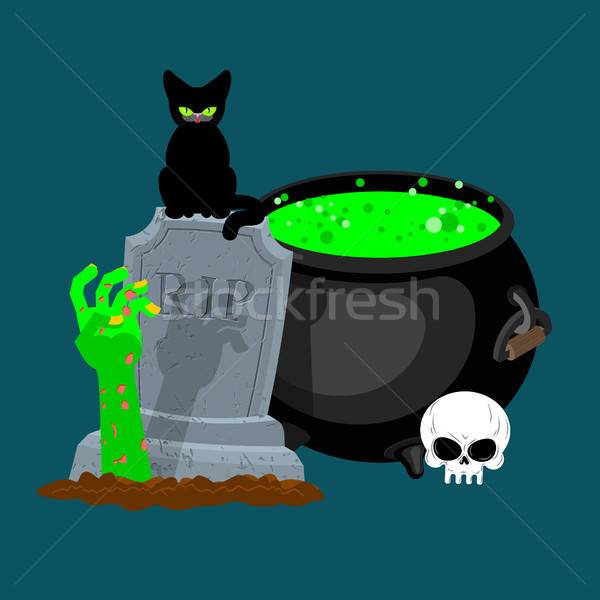 Halloween template. Pot with magical potion and hand of zombie.  Stock photo © MaryValery