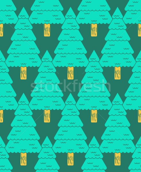 Coniferous forest pattern. Christmas tree ornament. Fir-tree bac Stock photo © MaryValery