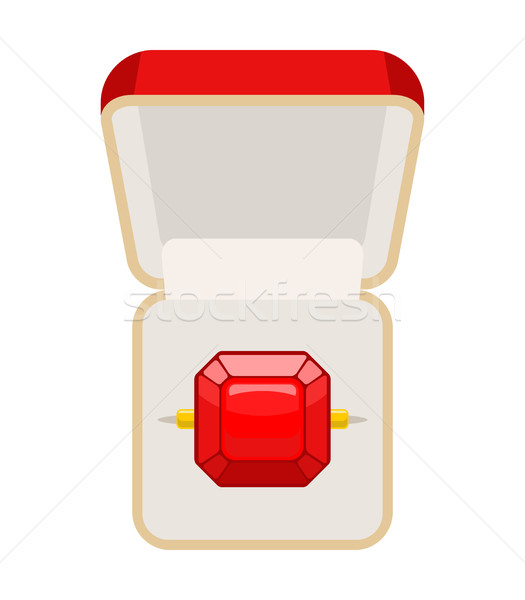 Ring with Ruby. Open box for jewelry. Illustration for betrothal Stock photo © MaryValery
