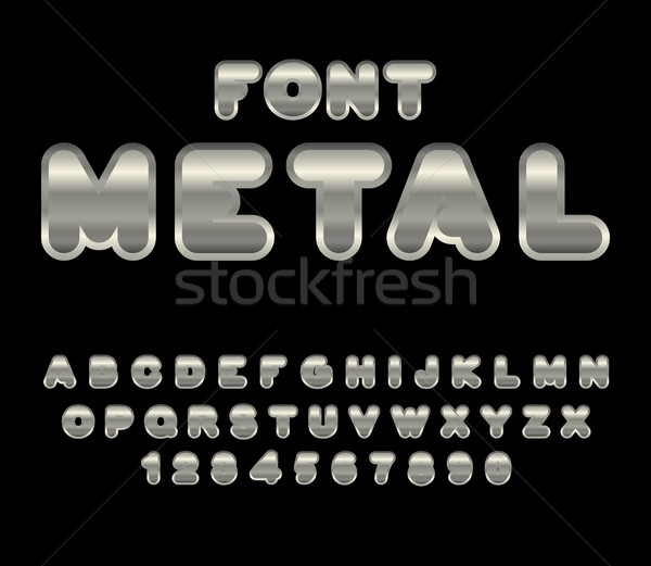 Metal font. ABC of iron. Steel alphabet. Metallic shimmering let Stock photo © MaryValery