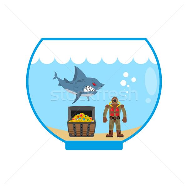 мини акула аквариум старые Сток-фото © MaryValery