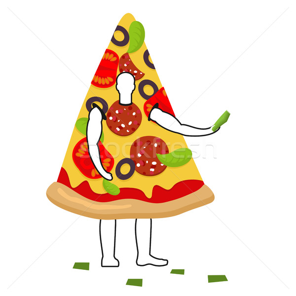 Pizza man mascot promoter. Male in suit slice distributes flyers Stock photo © MaryValery