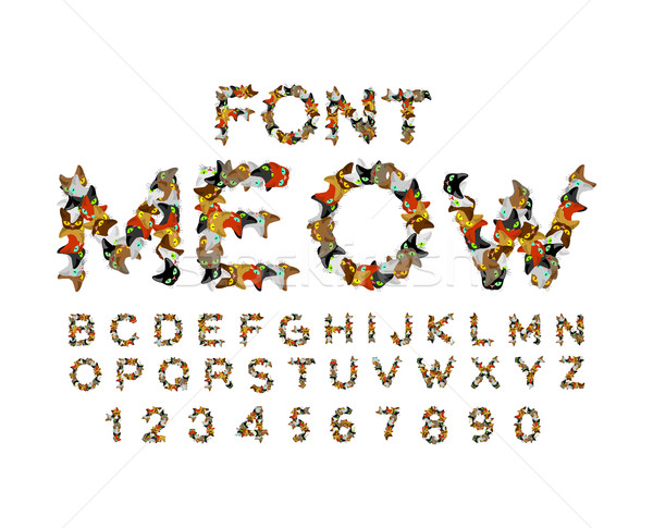 Meow font. Cat alphabet. catlike ABC. letters of  Pet. Pets typo Stock photo © MaryValery