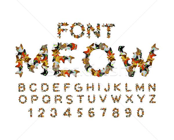 Miauczenie chrzcielnica kot alfabet litery domowych Zdjęcia stock © MaryValery