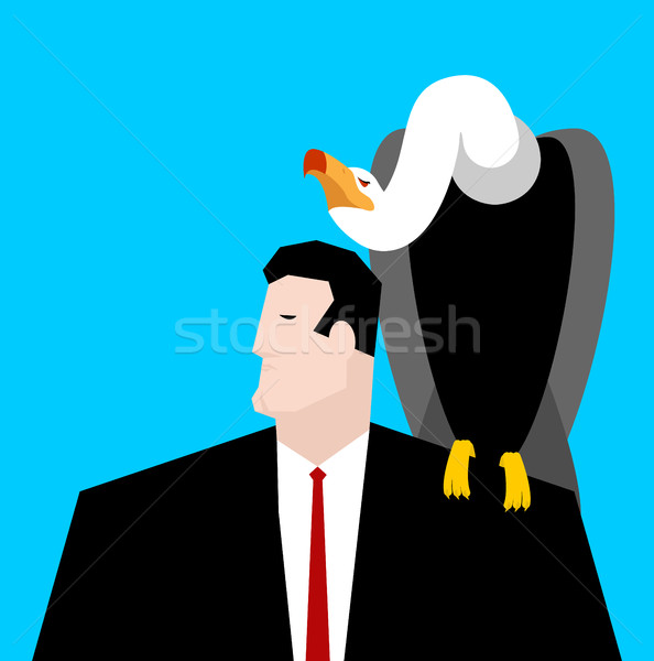 vulture and businessman. neophron sitting on man shoulder Stock photo © MaryValery