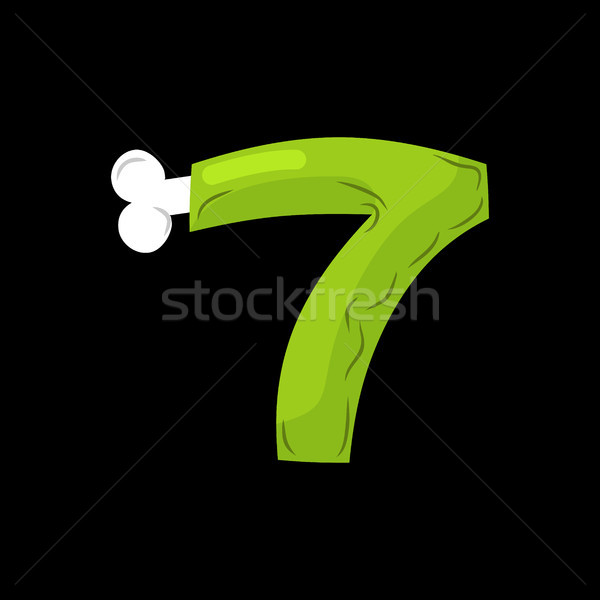 Number 7 zombie. Monster Font seven. bones and brains alphabet s Stock photo © MaryValery