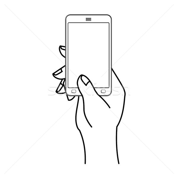 Hand and mobile phone. Man is holding smartphone. Technological  Stock photo © MaryValery