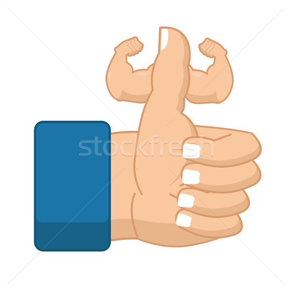 Like Fitness. Strong Thumbs up with big muscles. Powerful hand.  Stock photo © MaryValery
