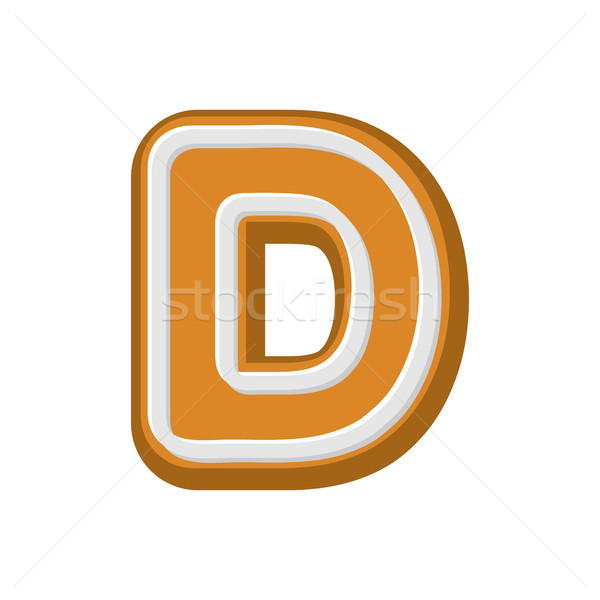 Letter D Gingerbread. Peppermint honey-cake font. Cookies alphab Stock photo © MaryValery