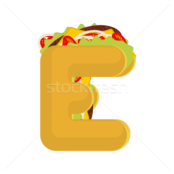 Letter E tacos. Mexican fast food font. Taco alphabet symbol. Me Stock photo © MaryValery