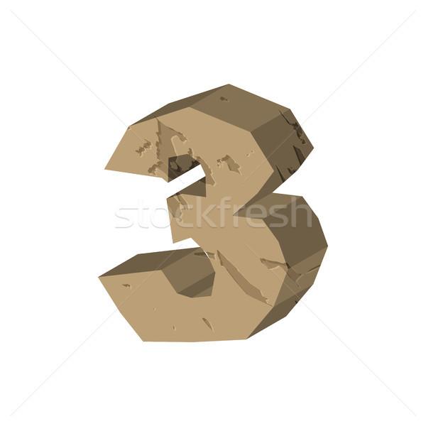 Number 3 stone. Rock font three. Stones alphabet symbol. rocky c Stock photo © MaryValery