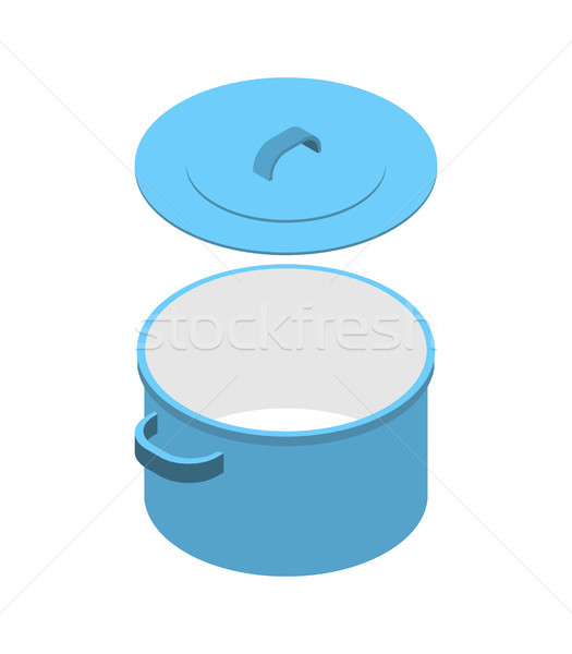 Blue saucepan isolated isometric. Utensils on white background Stock photo © MaryValery