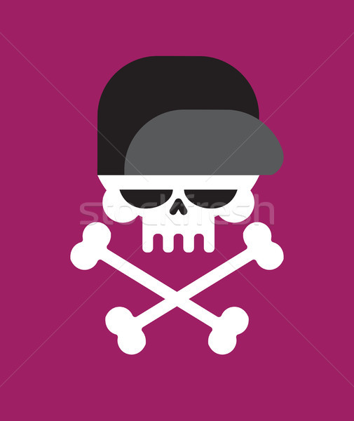 Skull in baseball cap isolated .Head of skeleton in hat Stock photo © MaryValery