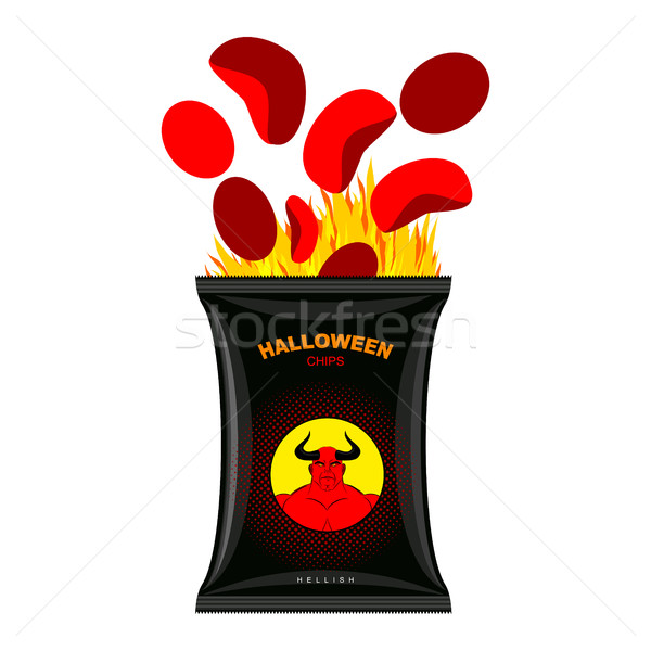 Hellish chips for Halloween. Packing snacks with Satan. Hellfire Stock photo © MaryValery