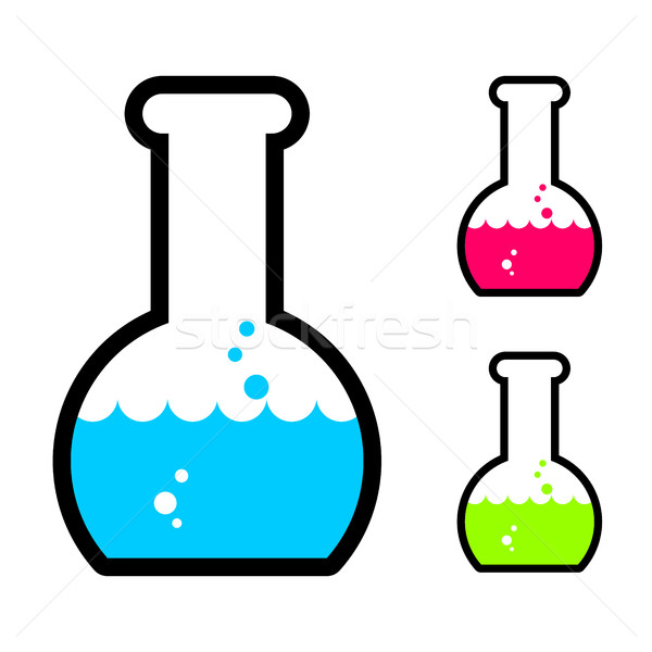 Laboratory flask with acid. Tube for research. Scientific glassw Stock photo © MaryValery