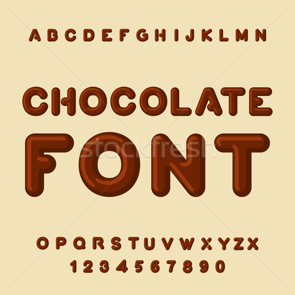 Chocolate font. Dessert ABC. Sweet alphabet. Brown letter. confe Stock photo © MaryValery