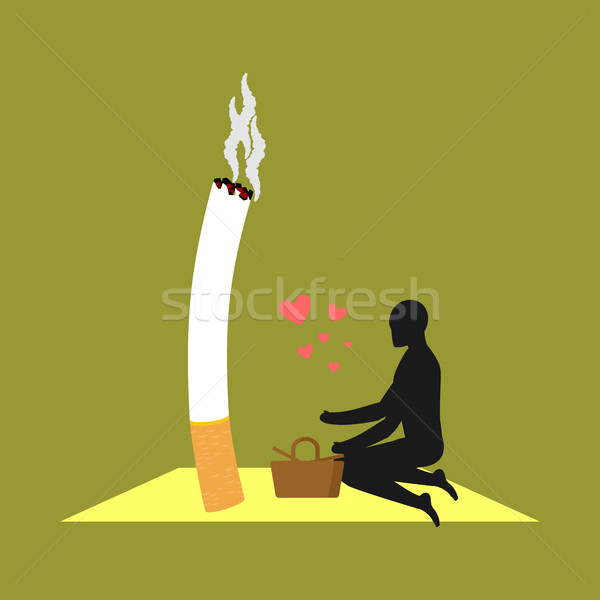 Lover smoke. Man and cigarette on picnic. Smoker in nature. Nico Stock photo © MaryValery