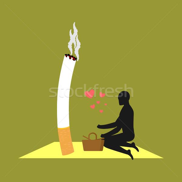 Szerető füst férfi cigaretta piknik dohányos Stock fotó © MaryValery