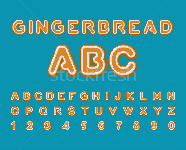 Gingerbread ABC. Christmas cookie Alphabet . Mint Cookies font.  Stock photo © MaryValery
