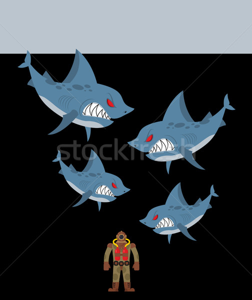 Diver is surrounded by sharks. Underwater abyss and evil sharks  Stock photo © MaryValery