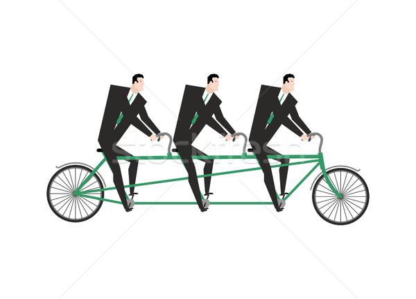Stock fotó: üzletember · tandem · üzleti · csapat · bicikli · főnök · sport