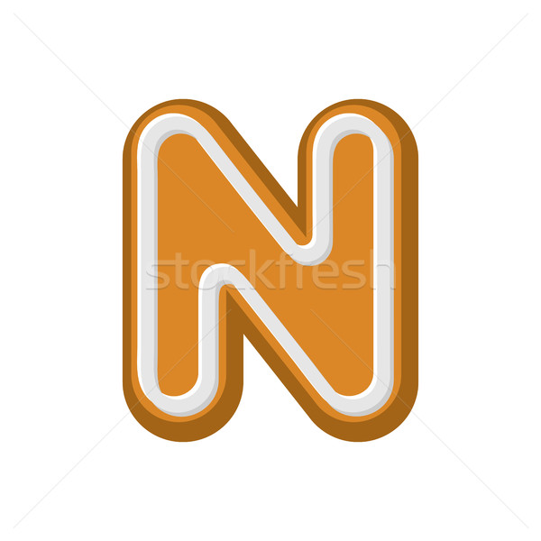 N betű mézeskalács borsmenta betűtípus sütik ábécé Stock fotó © MaryValery