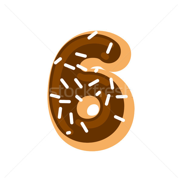 Number 6 donut. Doughnut font six. Sweet alphabet. candy letteri Stock photo © MaryValery