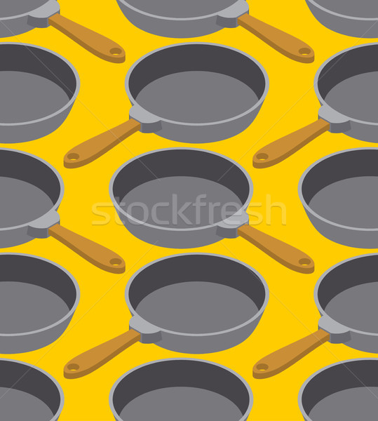 Frying pan seamless pattern. Fry dishes background. Kitchen orna Stock photo © MaryValery
