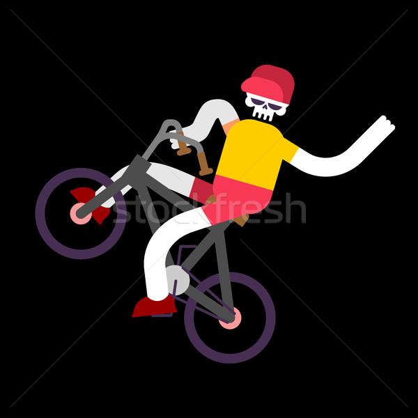 Scheletro bicicletta cranio ragazzo bike felice Foto d'archivio © MaryValery