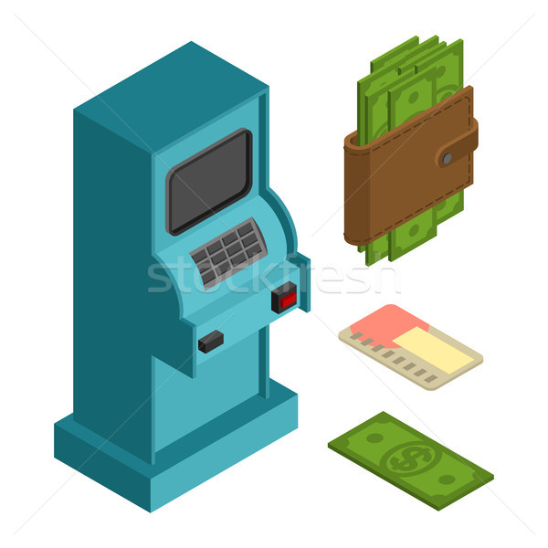 Financial icon set. ATM and cash. Money wallet and credit card Stock photo © MaryValery